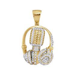 Mens Diamond Mic Headphone DJ Music Charm Pendant 1 Cttw 10kt Yellow Gold - REF-49X9A
