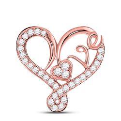 Womens Round Diamond Heart Love Pendant 1/3 Cttw 10kt Rose Gold - REF-19W5K