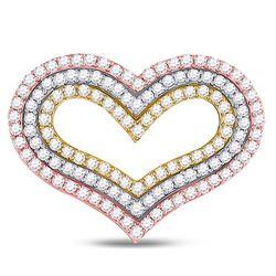 Womens Round Diamond Heart Pendant 1-1/3 Cttw 14kt Tri-Tone Gold - REF-92X5A