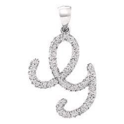 Womens Round Diamond Cursive G Letter Pendant 1/6 Cttw 10kt White Gold - REF-10N5F