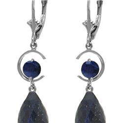 Genuine 18.6 ctw Sapphire Earrings 14KT White Gold - REF-49A2K