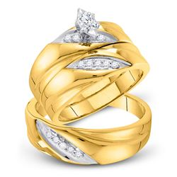 His Hers Marquise Diamond Solitaire Matching Wedding Set 1/4 Cttw 10kt Yellow Gold - REF-36F9W