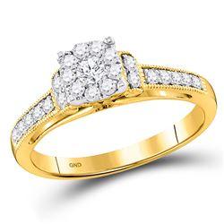 Round Diamond Cluster Bridal Wedding Engagement Ring 1/2 Cttw 10kt Yellow Gold - REF-38K9Y