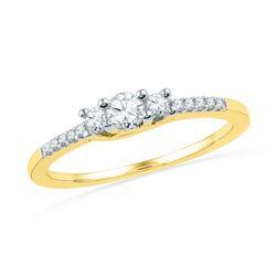 Round Diamond 3-stone Bridal Wedding Engagement Ring 1/4 Cttw 10kt Yellow Gold - REF-22W5K