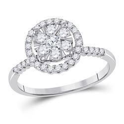 Womens Round Diamond Halo Flower Cluster Ring 1/2 Cttw 14kt White Gold - REF-43Y5N