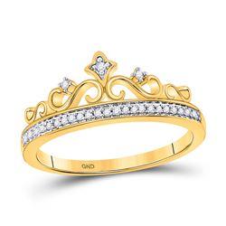 Womens Round Diamond Crown Tiara Band Ring 1/10 Cttw 10kt Yellow Gold - REF-13R9X
