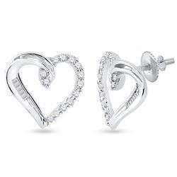 Womens Round Diamond Heart Earrings 1/6 Cttw 10kt White Gold - REF-10F9W