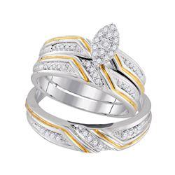 His Hers Round Diamond Marquise Matching Wedding Set 1/3 Cttw 10kt White Gold - REF-36M9H