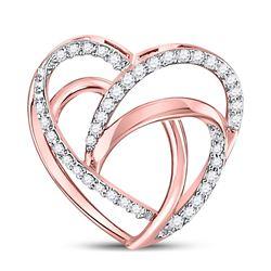 Womens Round Diamond Heart Pendant 1/10 Cttw 10kt Rose Gold - REF-7R5X