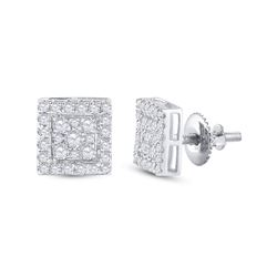 Womens Round Diamond Square Cluster Stud Earrings 1/2 Cttw 10kt White Gold - REF-30A9M