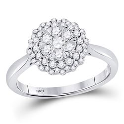 Womens Round Diamond Halo Flower Cluster Ring 1/2 Cttw 10kt White Gold - REF-37R5X