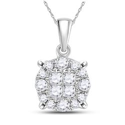 Womens Princess Diamond Fashion Cluster Pendant 1/6 Cttw 14kt White Gold - REF-13Y5N
