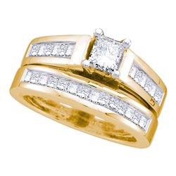 Princess Diamond Bridal Wedding Ring Band Set 1-1/2 Cttw 14kt Yellow Gold - REF-170M5H