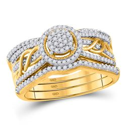 Round Diamond 3-Piece Bridal Wedding Ring Band Set 3/8 Cttw 10kt Yellow Gold - REF-36A9M