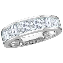 Womens Baguette & Princess Diamond Wedding Anniversary Band 1 Cttw 14kt White Gold - REF-87N5F