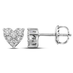 Womens Round Diamond Heart Cluster Stud Earrings 1/3 Cttw 10kt White Gold - REF-23X9A