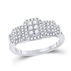 Womens Round Diamond Triple Rectangle Cluster Ring 1/2 Cttw 10kt White Gold - REF-38K9Y