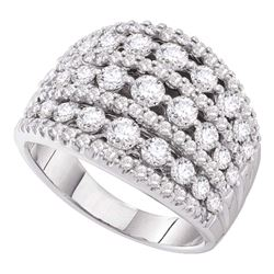 Womens Round Pave-set Diamond Wide Fashion Band Ring 3 Cttw 14kt White Gold - REF-236H9R