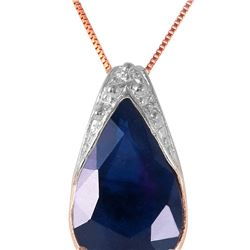 Genuine 4.65 ctw Sapphire Necklace 14KT Rose Gold - REF-44X7M