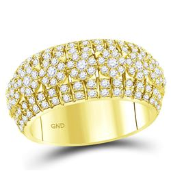 Mens Round Diamond Luxury Lined Cluster Band Ring 2-1/4 Cttw 14kt Yellow Gold - REF-153F5W