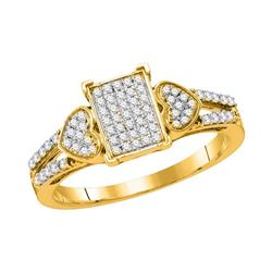 Womens Round Diamond Rectangle Heart Ring 1/4 Cttw 10kt Yellow Gold - REF-20H9R
