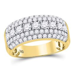 Mens Round Diamond Band Ring 2 Cttw 14kt Yellow Gold - REF-142N5F