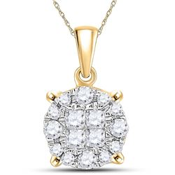 Womens Princess Round Diamond Cluster Pendant 1/4 Cttw 14kt Yellow Gold - REF-19K5Y