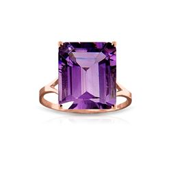Genuine 6.5 ctw Amethyst Ring 14KT Rose Gold - REF-43K8V