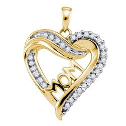 Womens Round Diamond Mom Mother Heart Pendant 1/5 Cttw 10kt Yellow Gold - REF-14A9M