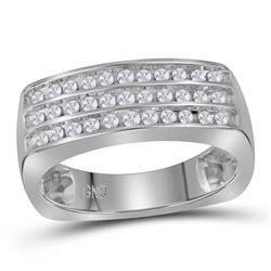 Mens Round Diamond Triple Row Wedding Anniversary Band Ring 1/2 Cttw 10kt White Gold - REF-44Y9N