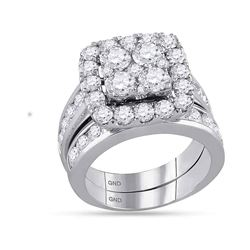 Round Diamond Bridal Wedding Ring Band Set 4-1/4 Cttw 14kt White Gold - REF-371F9W