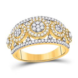 Womens Round Diamond Cluster Anniversary Ring 1 Cttw 14kt Yellow Gold - REF-82N9F