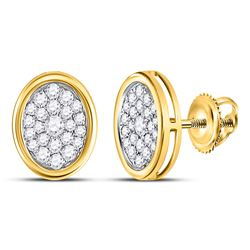 Womens Round Diamond Oval Cluster Earrings 1/2 Cttw 14kt Yellow Gold - REF-32Y5N