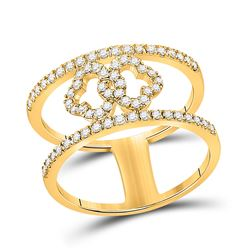 Womens Round Diamond Linked Clover Fashion Ring 3/8 Cttw 10kt Yellow Gold - REF-30H9R