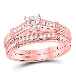 Round Diamond Bridal Wedding Ring Band Set 1/5 Cttw 10kt Rose Gold - REF-32N9F