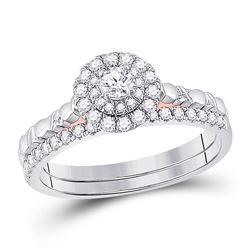 Round Diamond Bridal Wedding Ring Band Set 1/2 Cttw 10kt Two-tone Gold - REF-41M9H