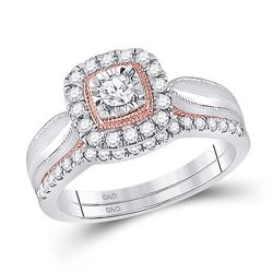Round Diamond Bridal Wedding Ring Band Set 1/2 Cttw 10kt Two-tone Gold - REF-46K5Y