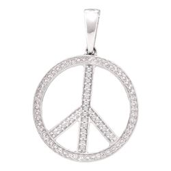 Womens Round Diamond Peace Sign Circle Pendant 1/10 Cttw 10kt White Gold - REF-13Y9N