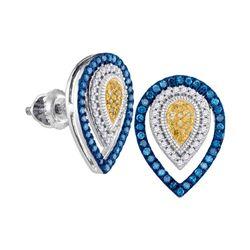 Womens Round Blue Yellow Color Enhanced Diamond Teardrop Earrings 1/3 Cttw 10kt White Gold - REF-24F