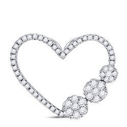Womens Round Diamond Fashion Heart Pendant 3/8 Cttw 10kt White Gold - REF-24X9A