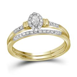 Marquise Diamond Bridal Wedding Ring Band Set 1/5 Cttw 10k Yellow Gold - REF-27W5K