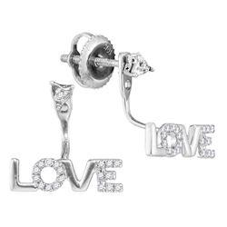 Womens Round Diamond Love Stud Jacket Earrings 1/10 Cttw 10kt White Gold - REF-8W5K