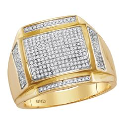 Mens Round Pave-set Diamond Square Cluster Ring 1/2 Cttw 10kt Yellow Gold - REF-48N5F