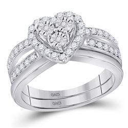 Diamond Heart Bridal Wedding Ring Band Set 3/4 Cttw 10kt White Gold - REF-61N9F
