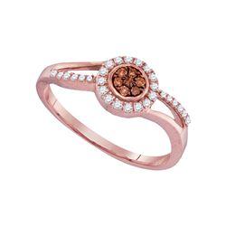 Womens Round Brown Diamond Flower Cluster Ring 1/4 Cttw 10kt Rose Gold - REF-15W9K