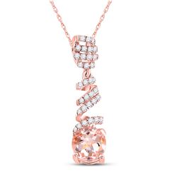 Womens Oval Morganite Diamond Spiral Solitaire Pendant 1 Cttw 10kt Rose Gold - REF-19A9M