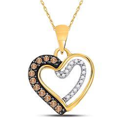 Womens Round Brown Diamond Heart Pendant 1/5 Cttw 10kt Yellow Gold - REF-8X5A