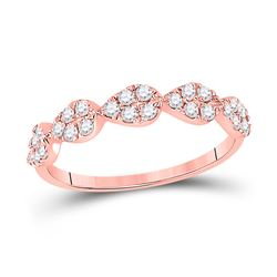Womens Round Diamond Teardrop Stackable Band Ring 1/3 Cttw 10kt Rose Gold - REF-23M5H