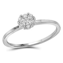 Womens Round Diamond Flower Cluster Ring 1/10 Cttw 14kt White Gold - REF-16H9R