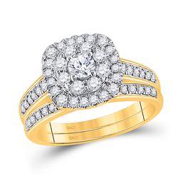 Round Diamond Bridal Wedding Ring Band Set 1 Cttw 14kt Yellow Gold - REF-76W5K